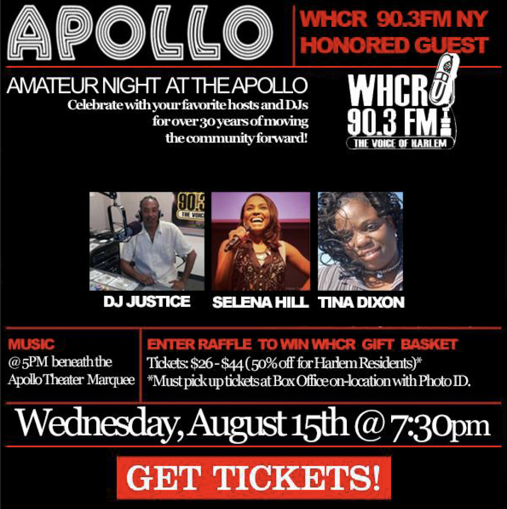 AMATEUR NIGHT AT THE APOLLO SALUTES HARLEM WEEK FEATURING WHCR 90.3 ...