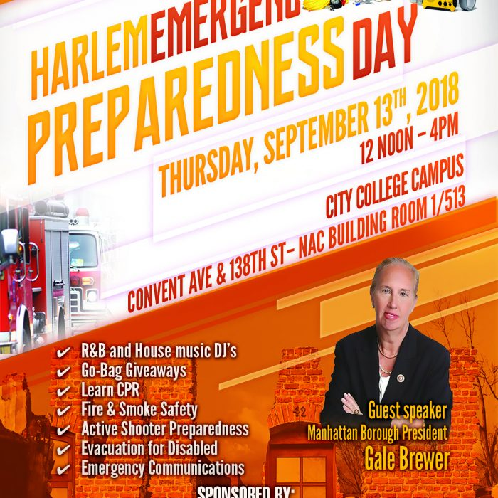Poster promoting Harlem Emergency Preparedness Day event Thursday, Sept 13th, from Noon-4pm.